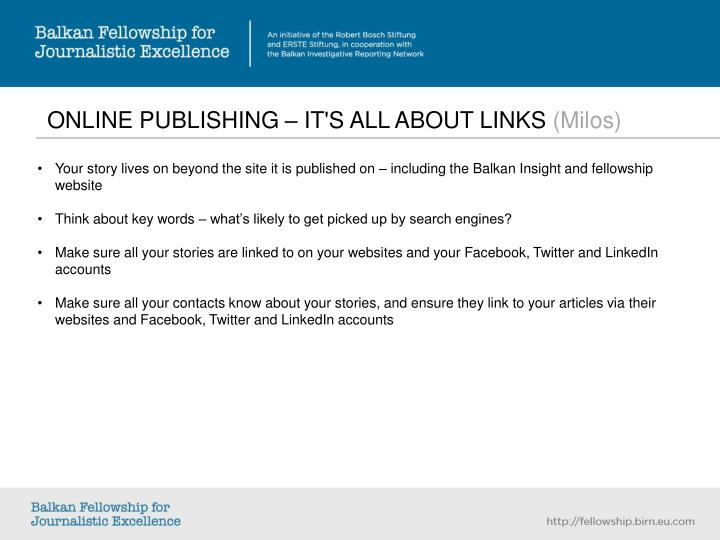 ONLINE PUBLISHING – IT'S ALL ABOUT LINKS