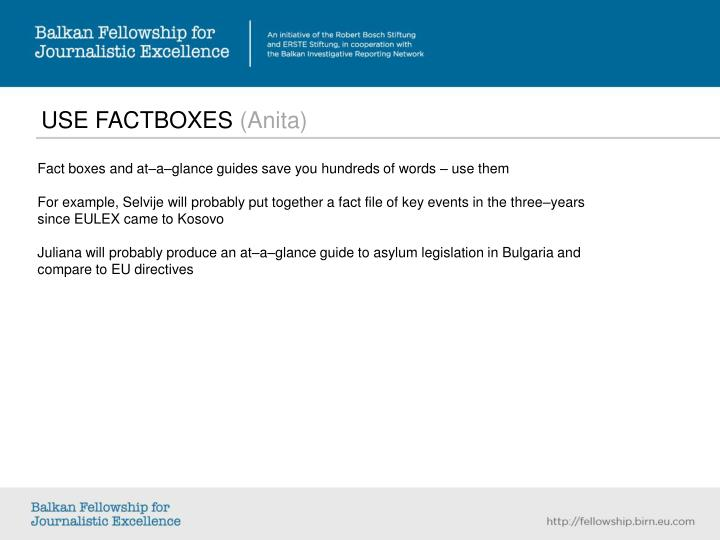 USE FACTBOXES