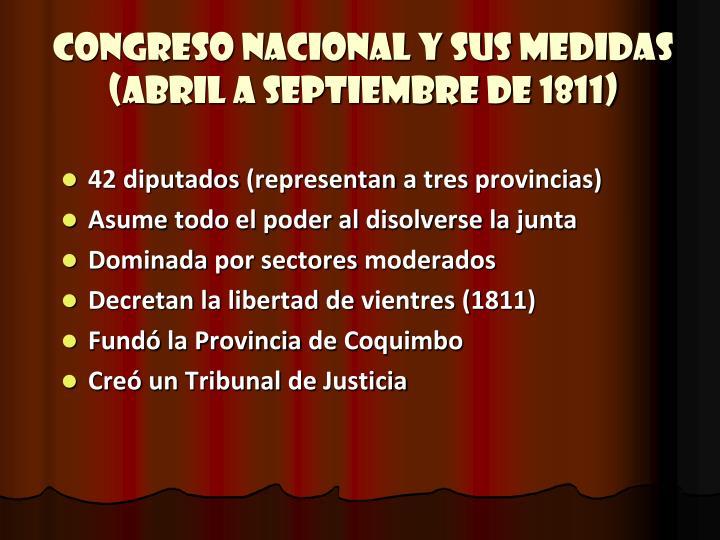 Congreso Nacional y sus medidas (Abril a Septiembre de 1811)