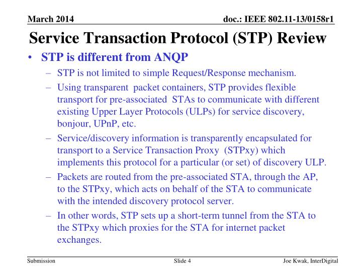 Service Transaction Protocol (STP) Review