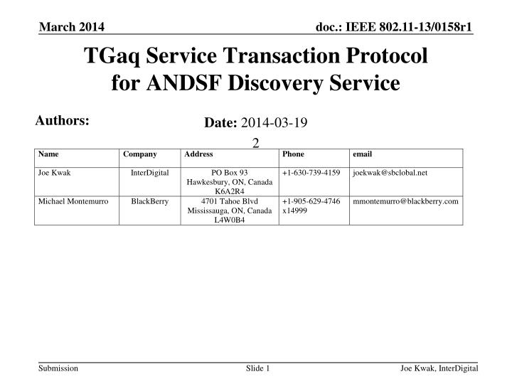 Tgaq service transaction protocol for andsf discovery service