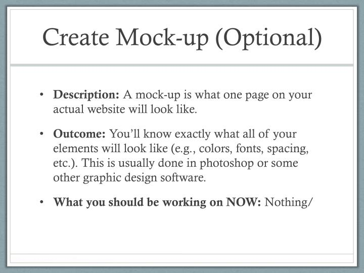 Create Mock-up (Optional)