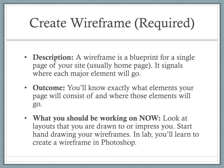 Create Wireframe (Required)