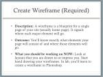 create wireframe required