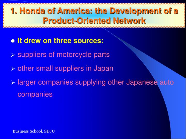 1. Honda of America: the Development of a Product-Oriented Network