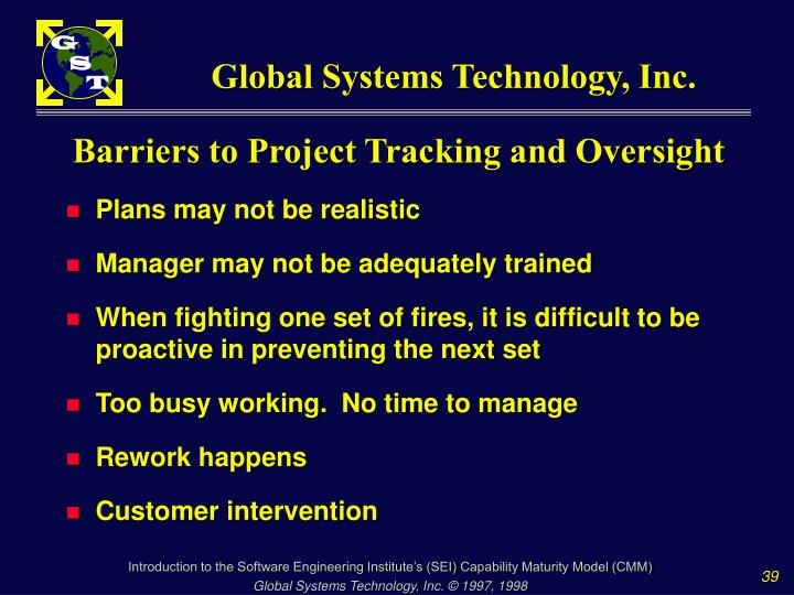 Barriers to Project Tracking and Oversight