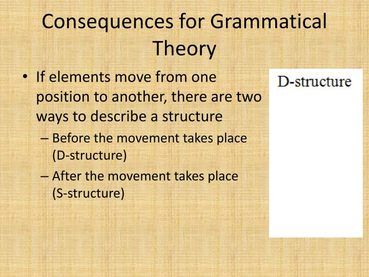 Consequences for Grammatical Theory