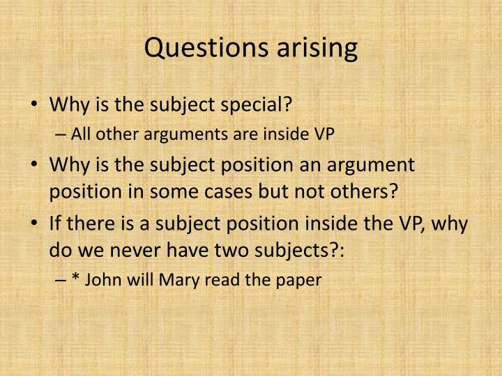 Questions arising