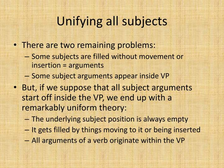 Unifying all subjects
