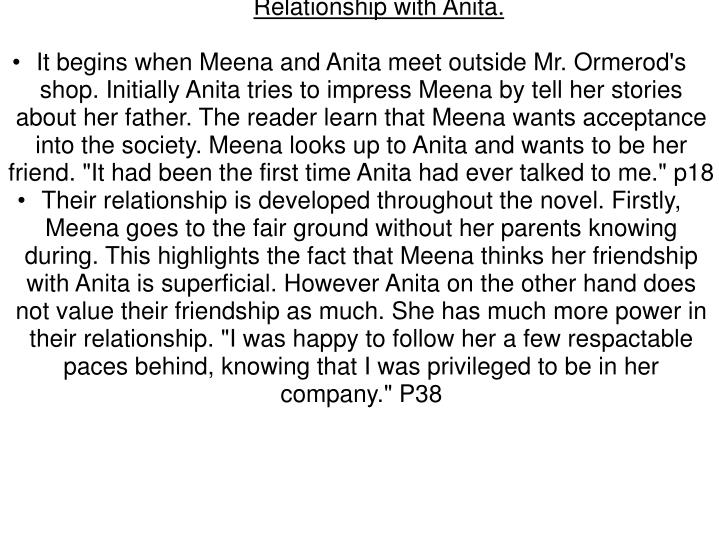 Relationship with Anita.