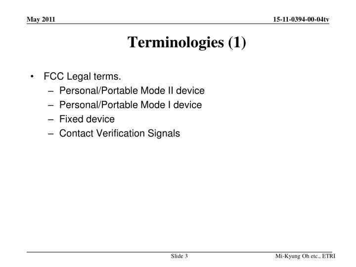 Terminologies (1)