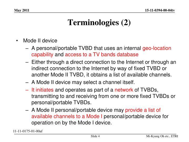Terminologies (2)