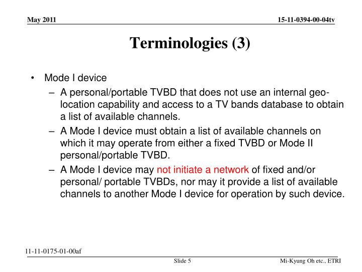 Terminologies (3)