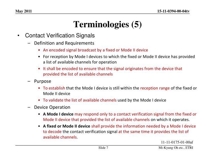 Terminologies (5)