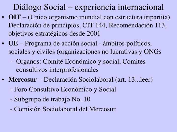Diálogo Social – experiencia internacional