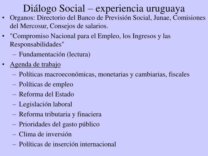 Diálogo Social – experiencia uruguaya