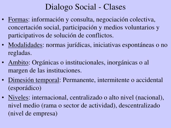 Dialogo Social - Clases
