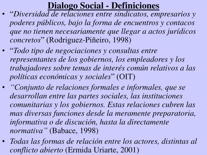 Dialogo Social - Definiciones