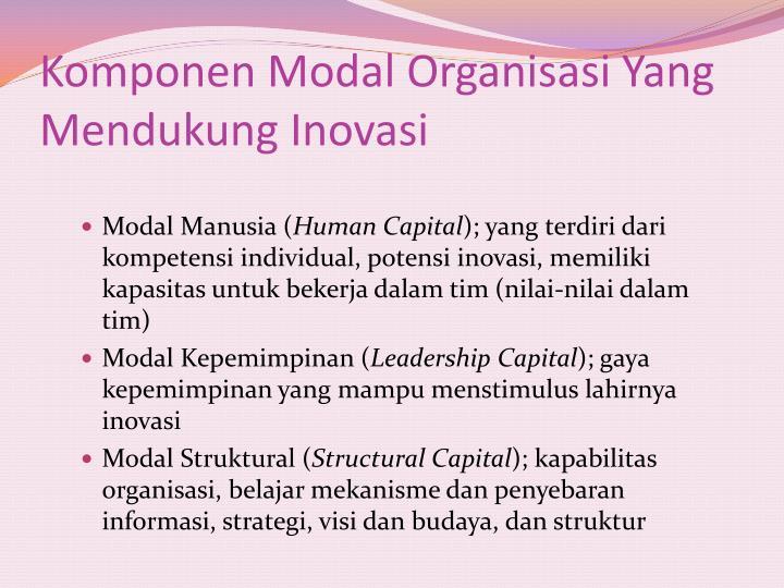 Komponen Modal Organisasi Yang Mendukung Inovasi