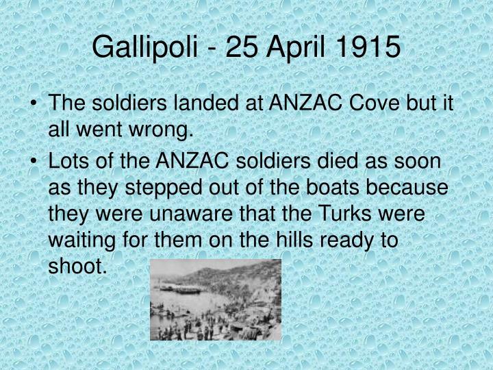 Gallipoli - 25 April 1915