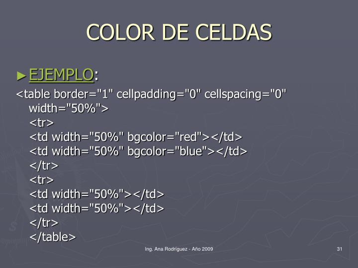 COLOR DE CELDAS