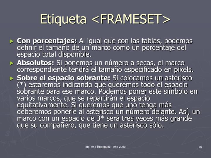 Etiqueta <FRAMESET>