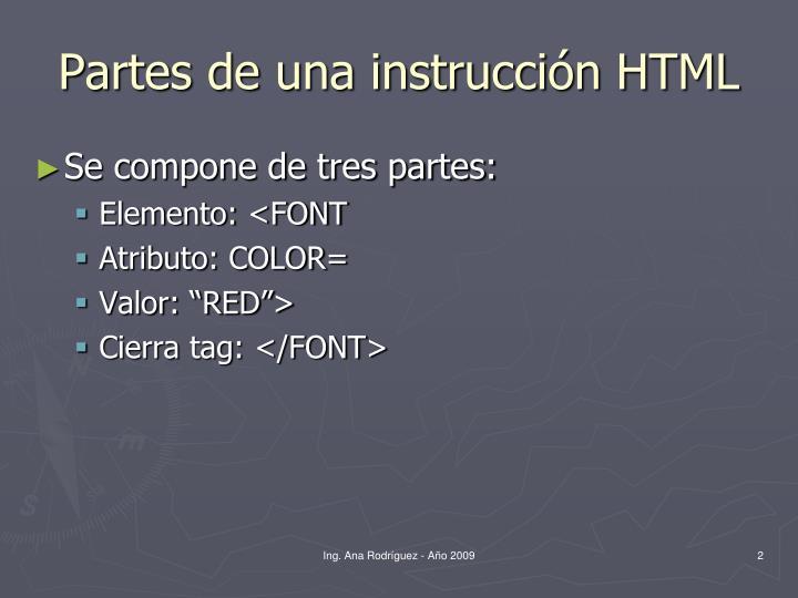 Partes de una instrucción HTML