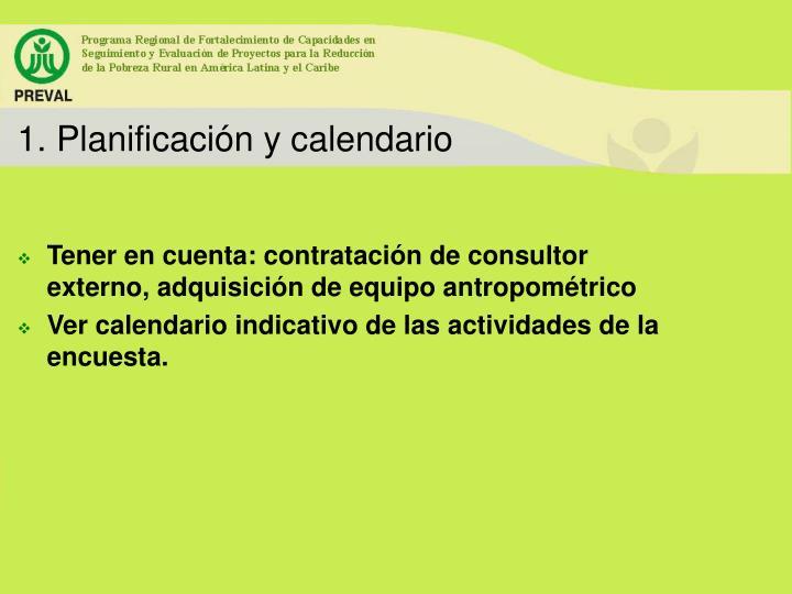 1. Planificación y calendario