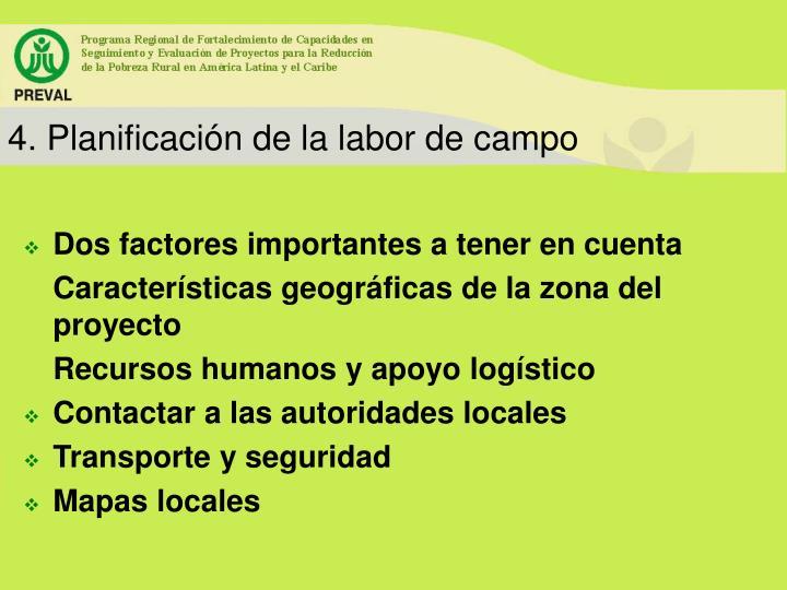 4. Planificación de la labor de campo