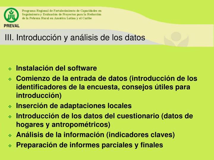 III. Introducción y análisis de los datos