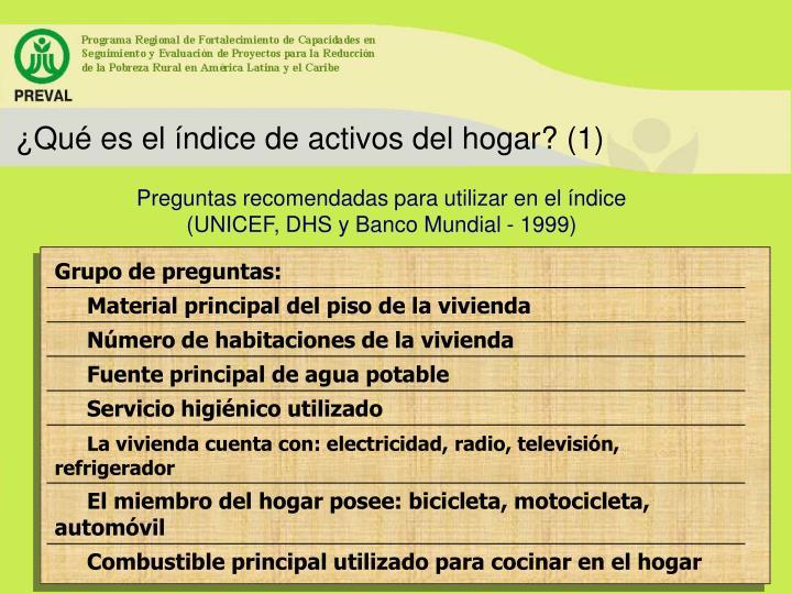 ¿Qué es el índice de activos del hogar? (1)