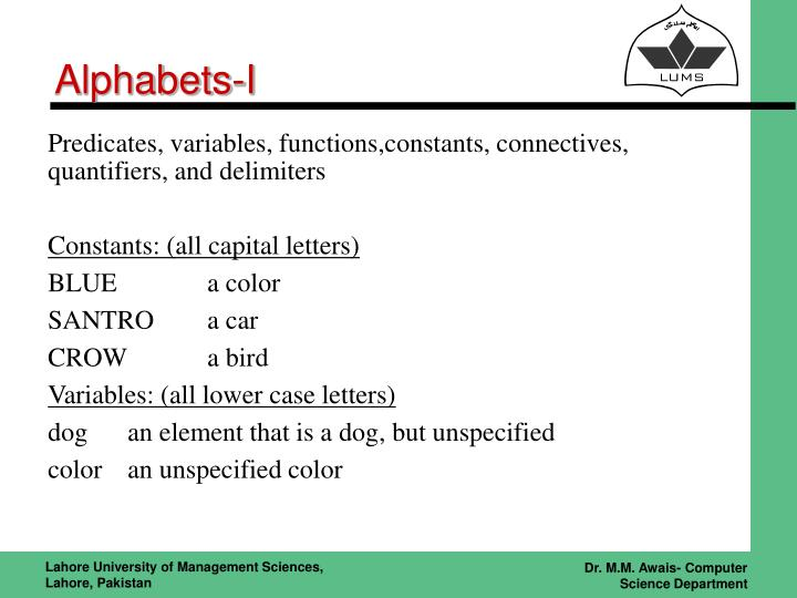 Alphabets-I
