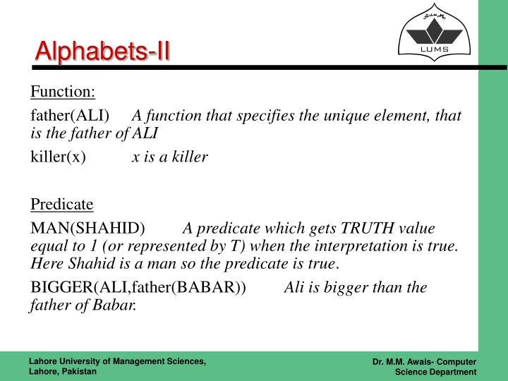 Alphabets-II