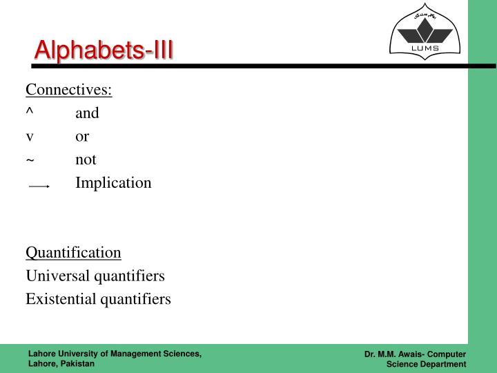 Alphabets-III