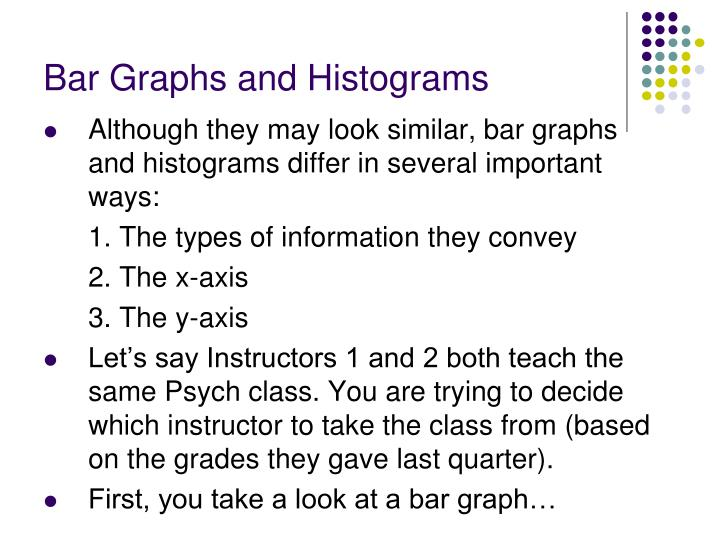 Bar graphs and histograms