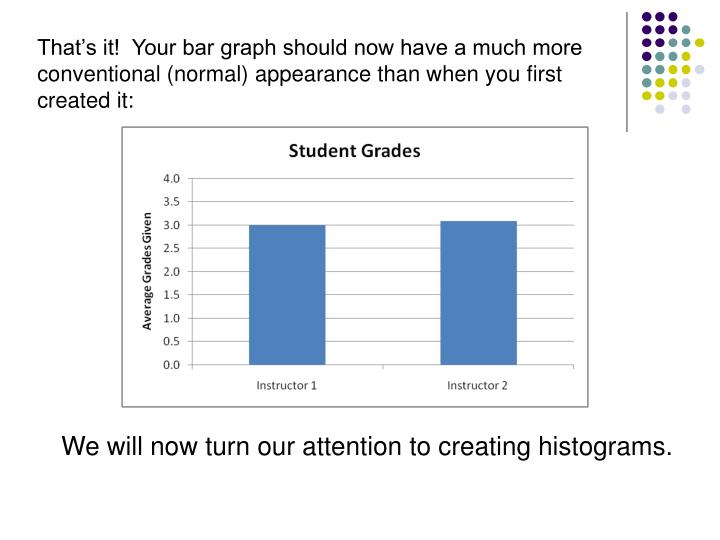 That's it!  Your bar graph should now have a much more conventional (normal) appearance than when you first created it: