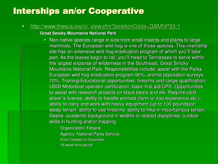 Interships an/or Cooperative