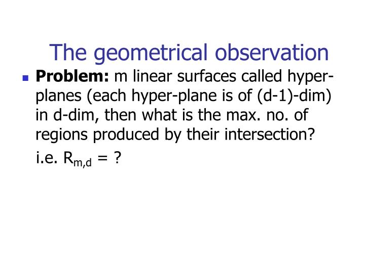 The geometrical observation