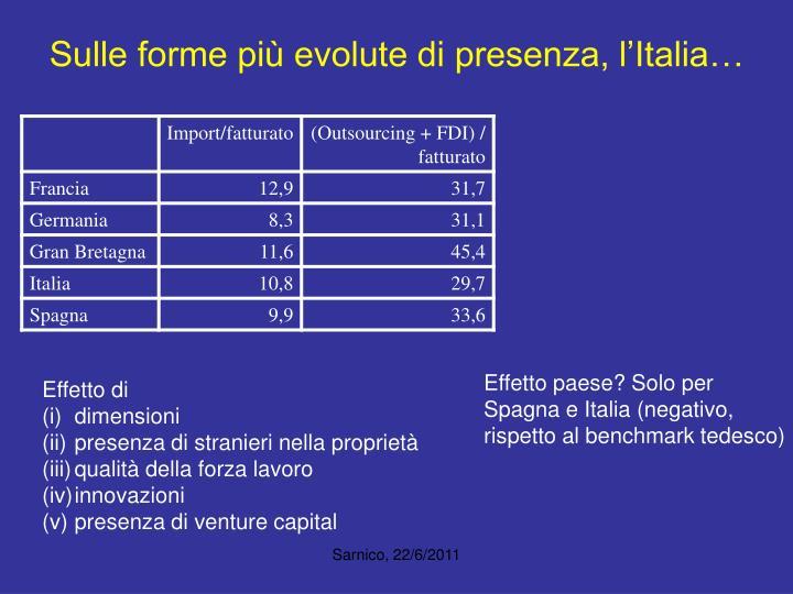 Sulle forme più evolute di presenza, l'Italia…
