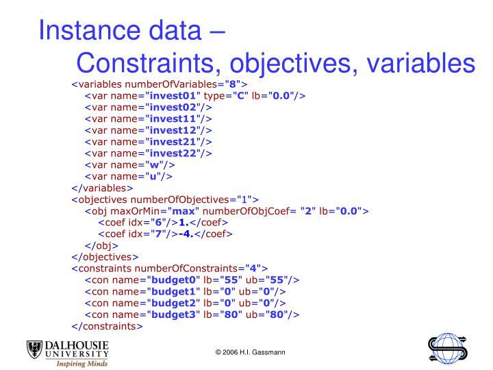 Instance data –