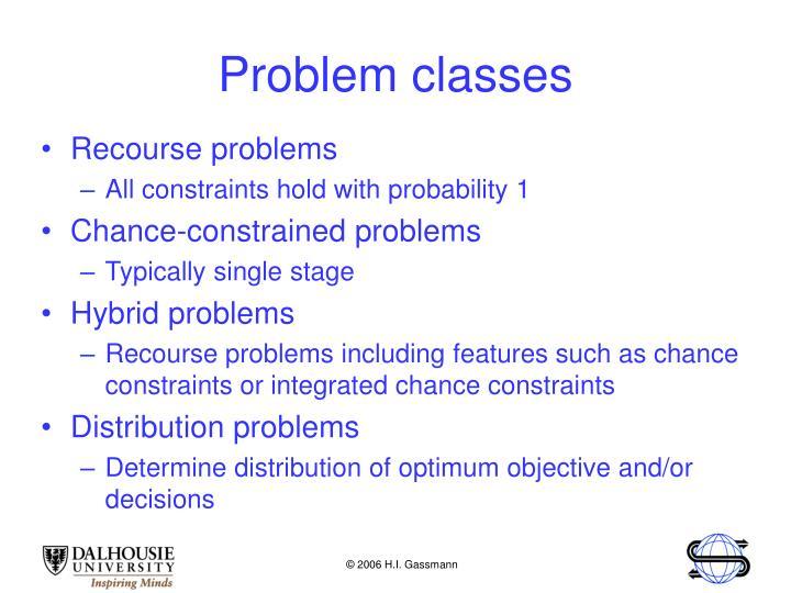 Problem classes