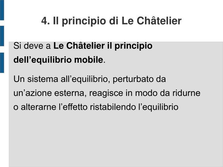 4. Il principio di Le Châtelier