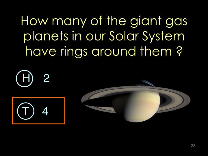 How many of the giant gas planets in our Solar System have rings around them ?