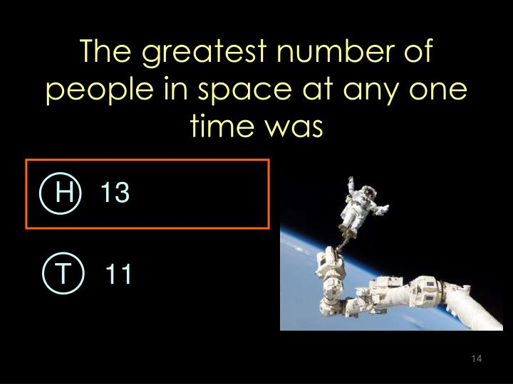 The greatest number of people in space at any one time was