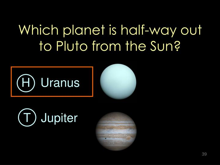 Which planet is half-way out to Pluto from the Sun?