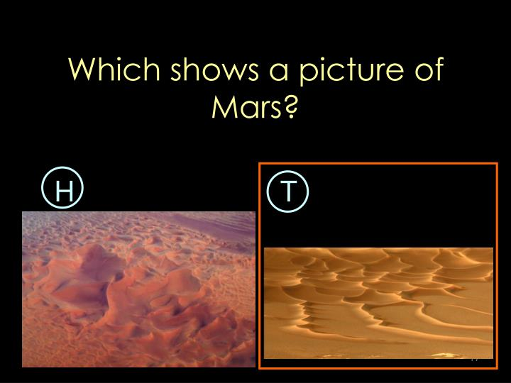 Which shows a picture of Mars?