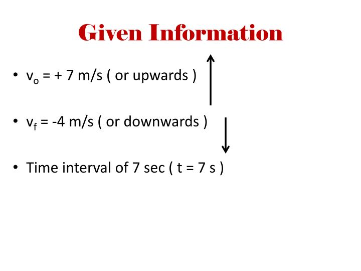 Given Information