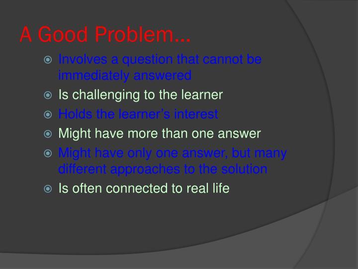 A Good Problem...