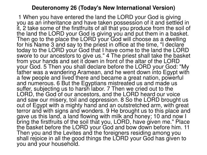 Deuteronomy 26 (Today's New International Version)