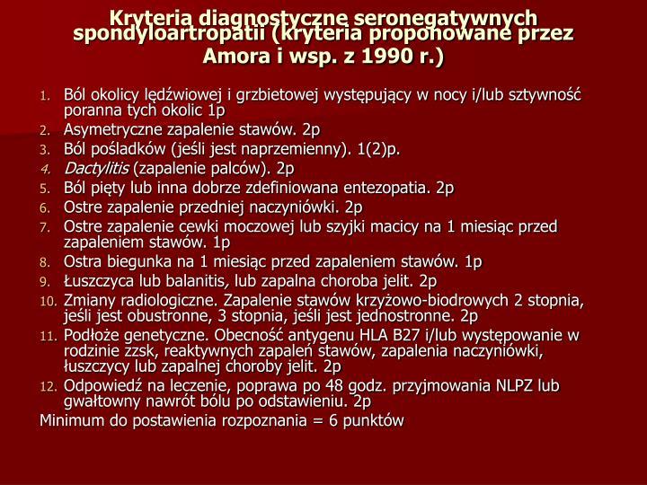 Kryteria diagnostyczne seronegatywnych spondyloartropatii (kryteria proponowane przez Amora i wsp. z 1990 r.)